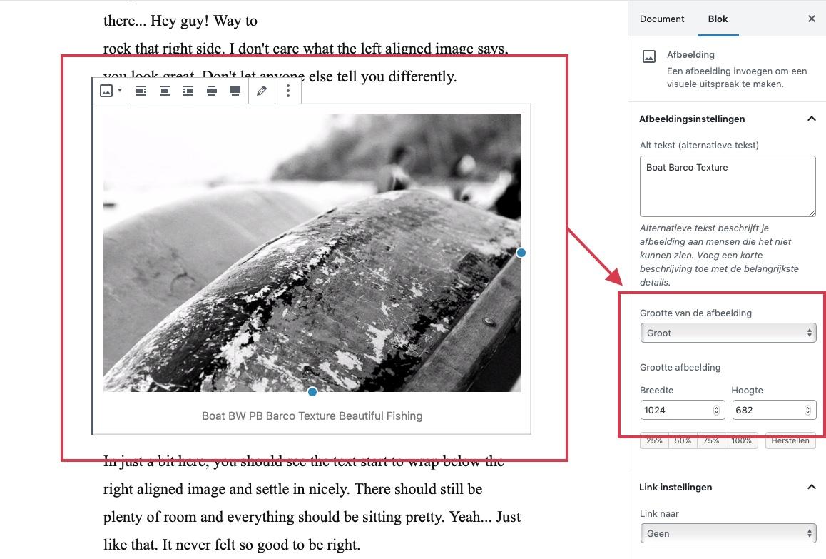 Het selecteren van de afbeeldings grootte in WordPress