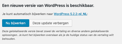 De update button van WordPress.